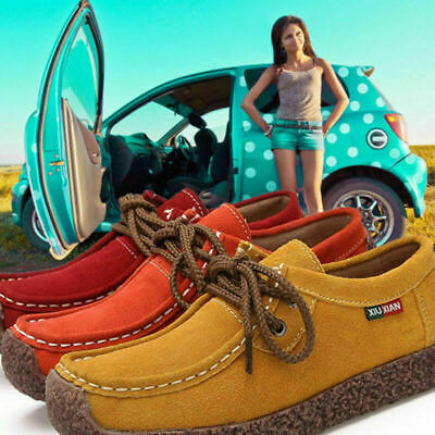 Women's Suede Leather Lace-up Flats Loafer Boat Ladies Moccasin Comfy Shoes
