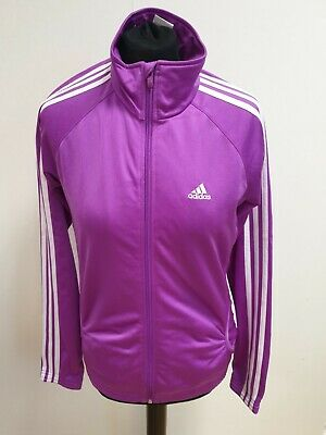 Ff304 Girls Adidas Purple White Stripes Full Zip Tracksuit Jacket Age 15-16 Yrs