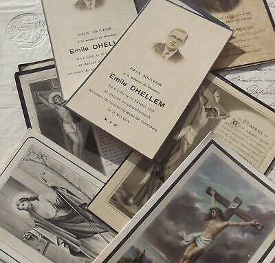 Lot Antique French Death Memento Cards Memorial Funeral Holy prayer