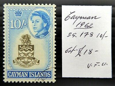 CAYMAN ISLANDS 1962 - 10/- SG178 Very Fine/Used As Described NT520