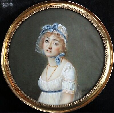 18th CENTURY FINE FRENCH MINIATURE PORTRAIT OF ELEGANT LADY - INSCRIBED AMELIE