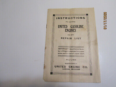 1914 1 1/2HP to 12HP United Gasoline Engine Instruction & Parts Manual Original