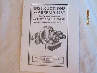 1938 Associated 3/4HP Gas Engine Instructions and Repair Manual