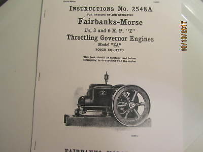 1919 Fairbanks Morse model ZA Gas Engine with Bosch  Instruction/Parts  Manual