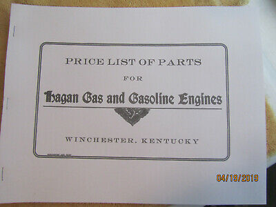 Early 1900s Hagan Gas Engine Company 1,2,3,4 cylinder parts price list  2-50HP