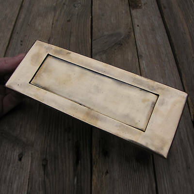 Old Brass Letter Box Plate Door Mail Slot Box with WORKING SPRING