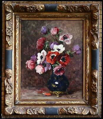 LILLIE HONNORAT (c.1830-1900) FRENCH LARGE STILL LIFE OIL PANEL FLOWERS ON TABLE