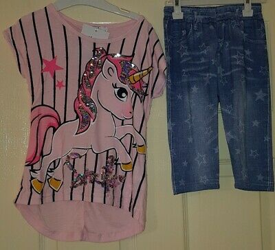 Girls Unicorn Reversible Sequin Twin Set Top & Trousers Age 3-4