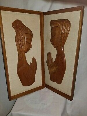 Two Vintage Wooden Wall Art Hand Carved Asian Figures 50 years Old Thailand