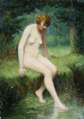 Louise Landre (1852-1940) Signed French Impressionist Oil On Canvas Nude Bather