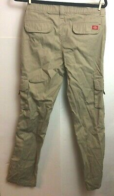 Dickies Womens size 4 Reg Beige Relaxed Fit Straight Cargo Pants Stretch 32""