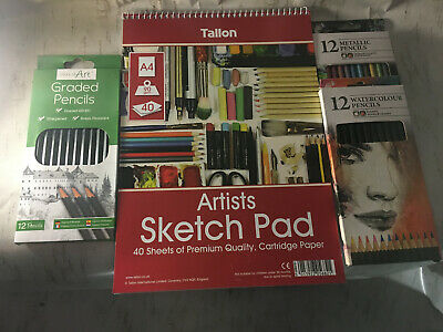 Medium Art Kit Draw Pad Graded Watercolour Pencils Draw Create Supplies Sketch