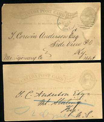 1887 Pair Canada One Cent Post Cards - Ontario Cattle Sales - Posted to Kentucky