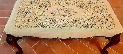 Antique Bench Original Needlepoint - 19th Century French Louis XV Stool