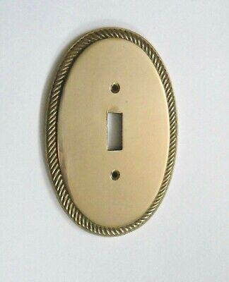 Vintage Victorian Brass Oval Toggle Switch Plate Cover - 5-3/4""
