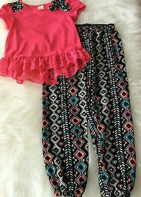Faded Glory Girls 6 - 6 X outfit short sleeve bow elastic waist pink black