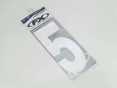 """FX 8"""" Factory Numbers 3-Pack White No. 5 AMA FIM NMA Legal Graphic Number Plate"""