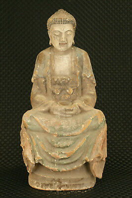 Chinese tibet old wood hand caved Buddha statue figure home decoration