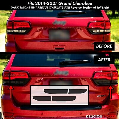 For 14-20 Grand Cherokee Rear REVERSE Tail Light SMOKE PreCut Tint Overlay Vinyl