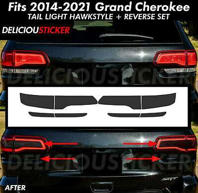 SET Tail Light Rear SMOKE PreCut Tint Overlay Vinyl For Grand Cherokee smoked