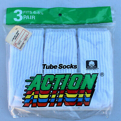 Vintage Cotton Action 3 Pair Tube Socks Sealed Size 6-8 1/2 Dead Stock White