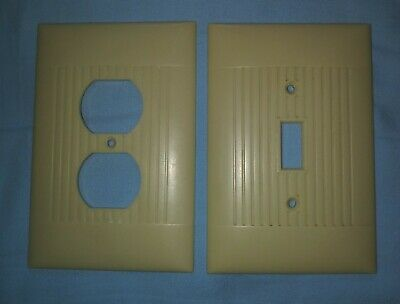 Vintage Sierra Electric USA  ribbed Outlet cover & Switch plate ivory bakelite