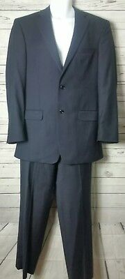 Jos A Bank Navy Blue Stripe Mens Suit 2 Pc 40 L Tailored Fit English Cut Wool