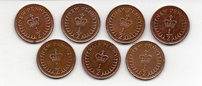 Great Britain Halfpenny coins 1971 - 1982   SEVEN DIFFERENT YEARS