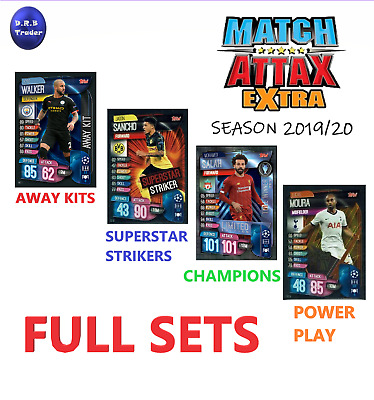 Match Attax EXTRA 2019/20 Full set AWAY KITS STRIKERS CHAMPIONS POWER PLAY LE6
