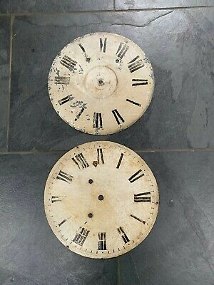 2 antique or vintage shabby metal clock faces
