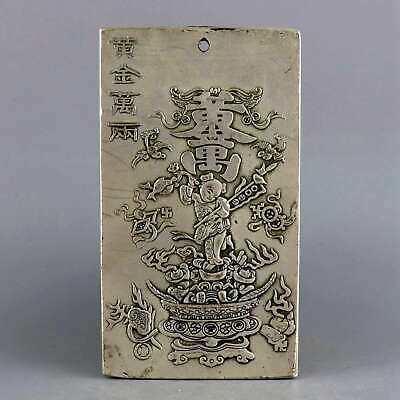 Collect China Antique Tibet Silver Carved Fairchild & Wealth Bring Luck Pendant