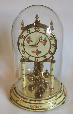 German 400 Day Glass Domed Clock Working Order