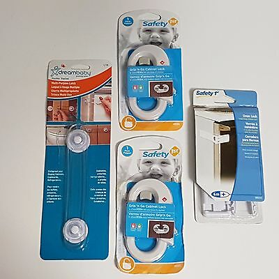 Baby Safety Products Bundle Lot NEW - Includes Oven & Cabinet Locks & Latch