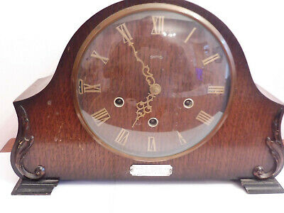 Found  Antique Bentwood /Deco Smiths 4 Bar Chime Mantle Clock  Silver Plaqued