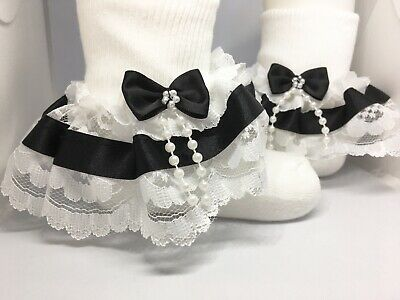 Handmade black beads bow baby/girls/adult frilly socks various sizes