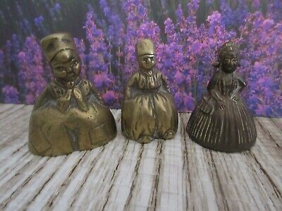 Lot of 4~Lady Brass Bells Figurines~ Dutch Colonial Victorian Collectible Shelf