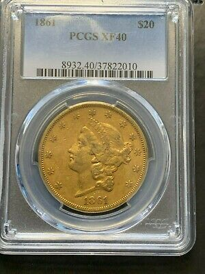 CIVIL WAR COIN 1861 $20 Liberty Gold Double Eagle XF-40 PCGS -