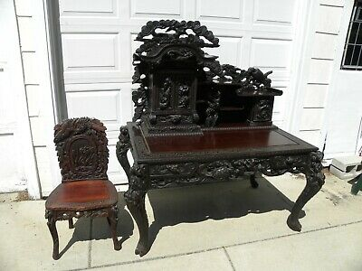 Antique Victorian Elaborately Carved Desk with Matching Chair (Late 1800s)
