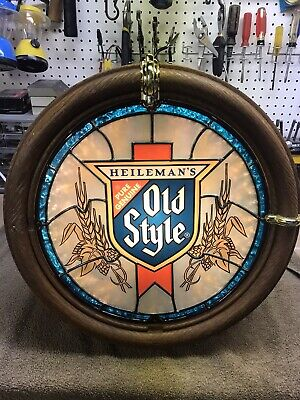 Vintage Heilemans Old Style Beer Illuminated Faux Stained Glass Bar Sign Light