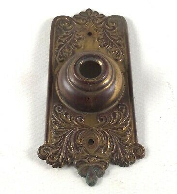 Antique push button doorbell cover pressed brass ornate vintage door