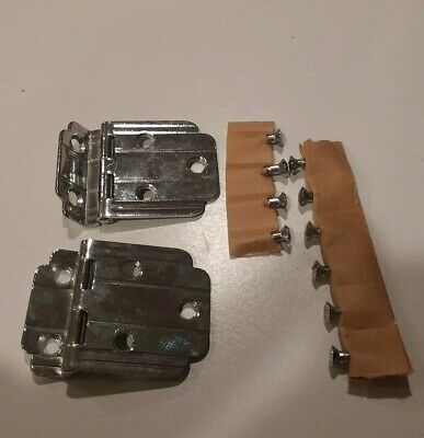 "Vintage NOS CHROME Cabinet Door Hinges Plain Lines 3/8"" Offset Art Deco Amerock"