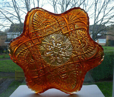 Vintage Sowerby Art Deco Carnival Art Glass Bowl In Marigold