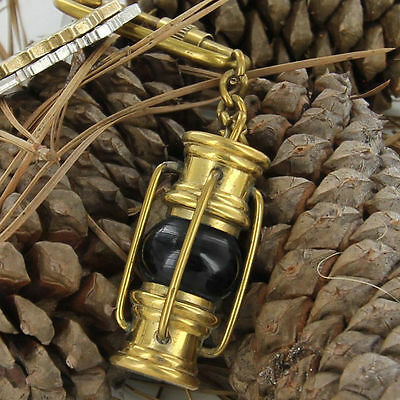 Nautical Brass Lamp Keychain Antique Maritime Ship Lantern Collectible Key Ring