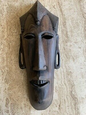Antique Hand Carved Wooden Tribal Native African Mask Ethnic Africa Art Man