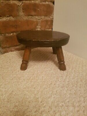 Antique  Oak Milking Stool Foot Stool baby size