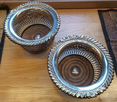 Silverplate Wine Coasters - Identical Pair    Ribbed Oak Bottom Inserts