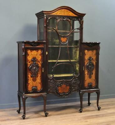 Attractive Large Antique Victorian Inlaid & Carved Mahogany Display Cabinet