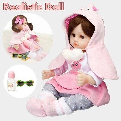 "19"" Reborn Baby Real Dolls Newborn Babies Vinyl Silicone Doll Lifelike Girl Set"