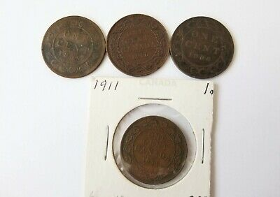 Lot of 4 Canada Large Cent (1859 - low 9,1906, 1911, 1916) various grades