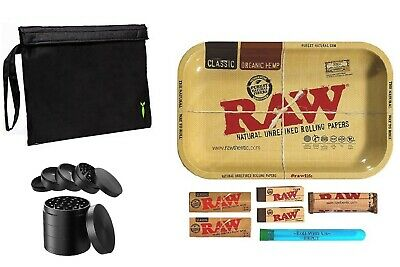 """Raw Rolling Tray Combo Smell Proof Hand Pouch 2.1"""" Metal Herb 5 Piece Grinder"""